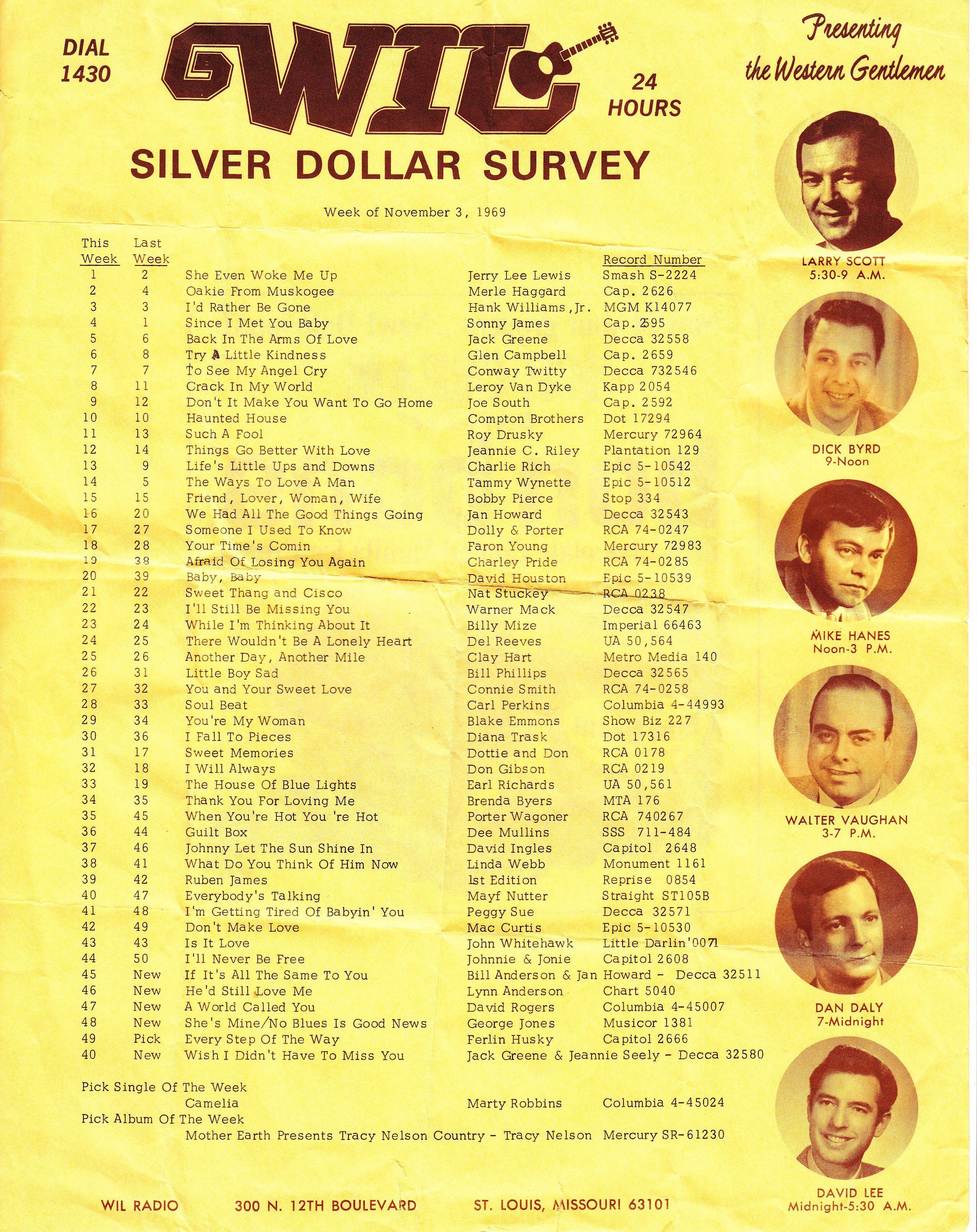 wil am stl silver dollar survey country 11 3 1969 radio music