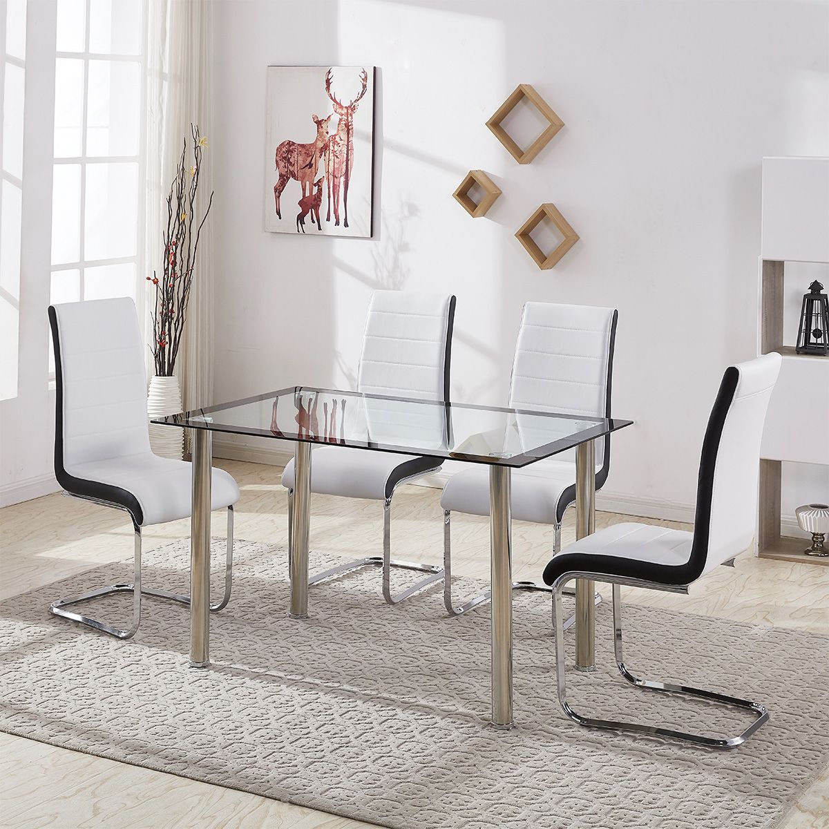 Details About Gizza 2 4 Dining Table Chairs Chrome Leg Kitchen