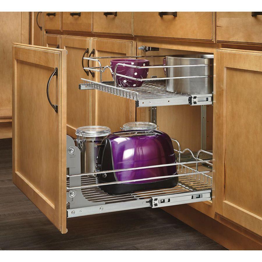 Shop Rev A Shelf 20 75 In W X 22 06 In D X 19 In H 2 Tier Metal Pull Out Cabinet Basket At Lowes Com Unique Shelves Rev A Shelf Cookware Storage