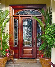Curved Design In A Rectangle Transom Estate Exterior Wood