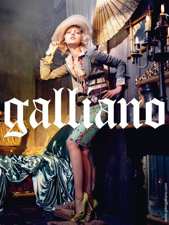 Sasha Pivovarova in JOHN GALLIANO SS 2009 AD campaign ,styled by Alexis Roche