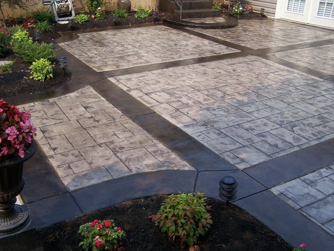 Stamped Concrete Patio Ashlar Slate Color Natural Concrete