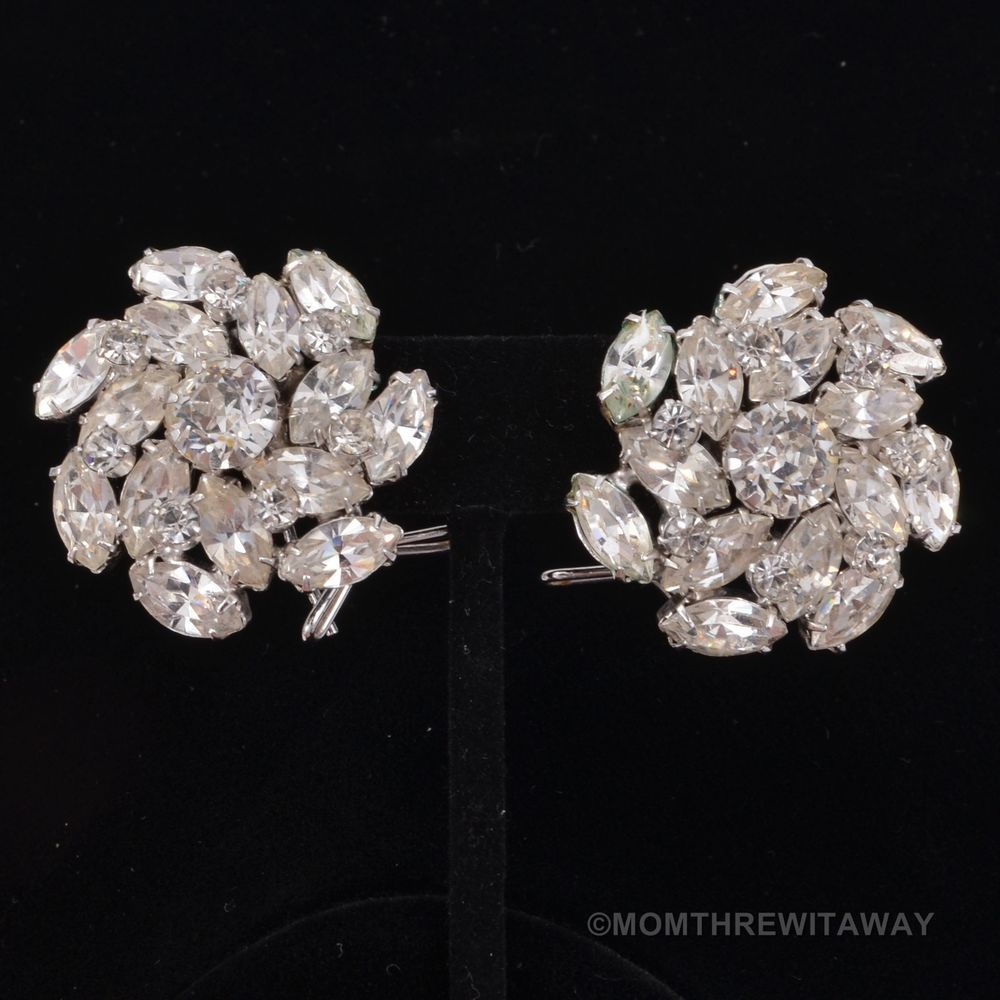 SPARKLING Vintage 1950s HUGE RHINESTONE Flower EARRINGS Chunky 3D WINGBACK Style