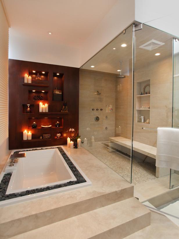 Spa Style The Stones Surrounding This Tub Create A Sense Of Serenity Stylish Bathroom Romantic Bathrooms Dream Bathrooms