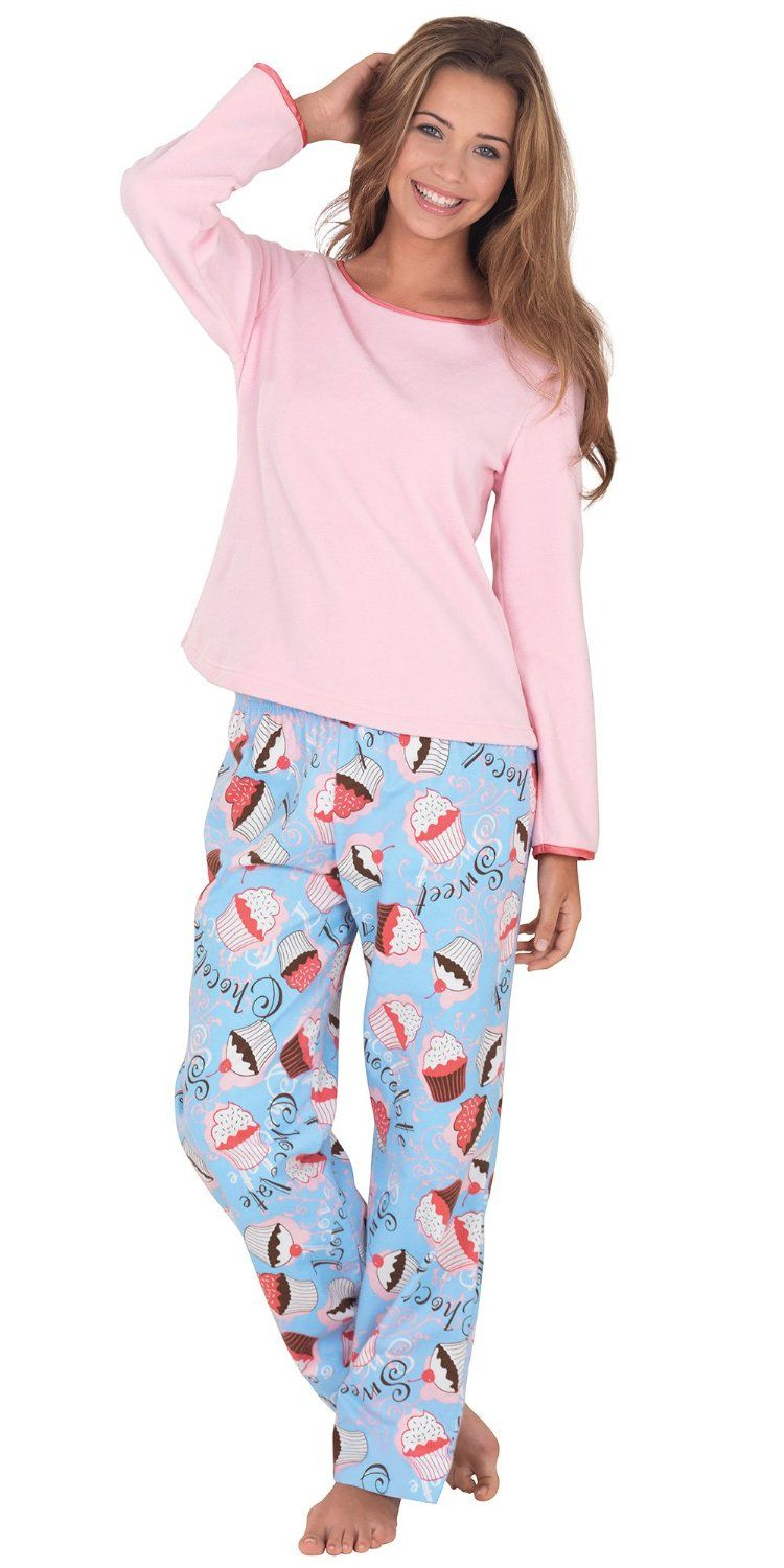 Amazon.com  Flannel Cupcake Lounge Pajamas for Women  Clothing ... e5ef4130f
