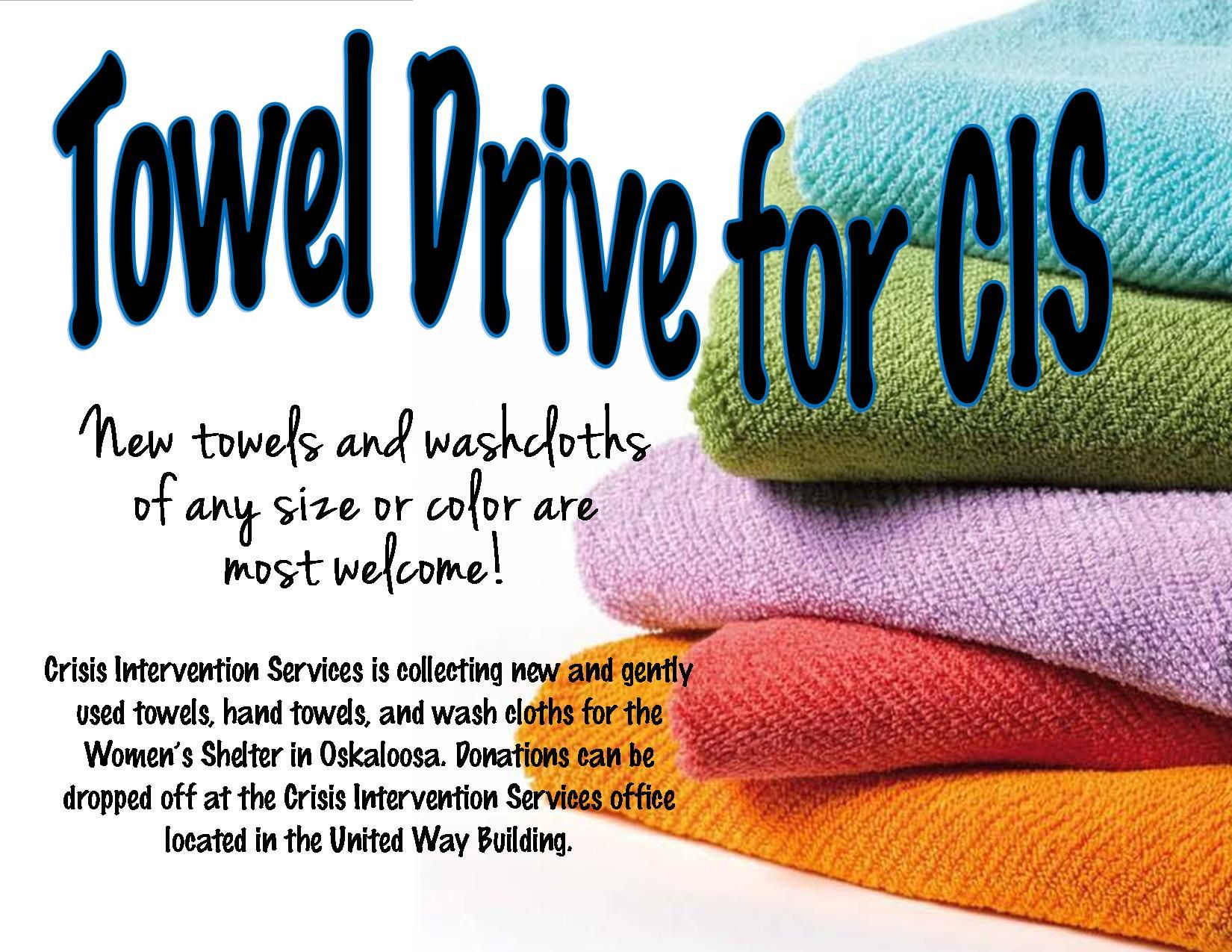 Help CIS by donating towels to our shelter 3/13/15