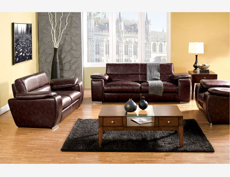 Rustic Brown Leather Sofa Loveseat Chair Plush Cushion Living Room Set