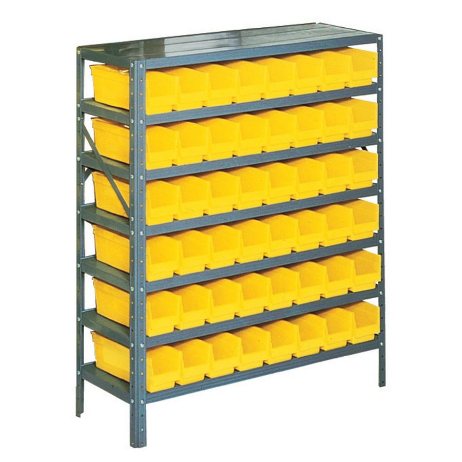Edsal 36 In W X 12 In D X 42 In H Plastic Bin Small Parts Storage Steel Storage Rack Boltless Shelving Storage Bins