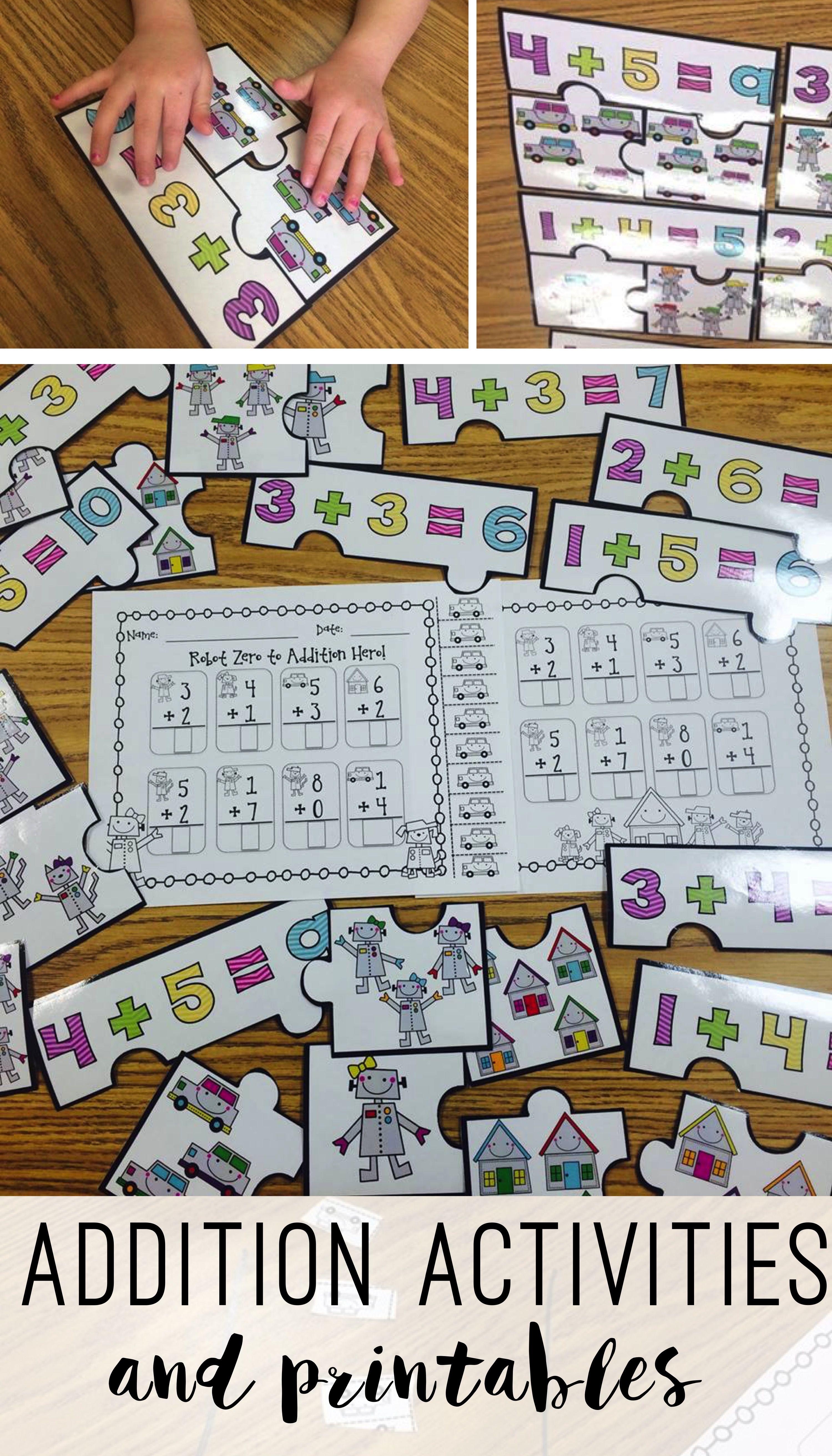 Robot Addition Centers | Pinterest | Kindergarten addition, Addition ...