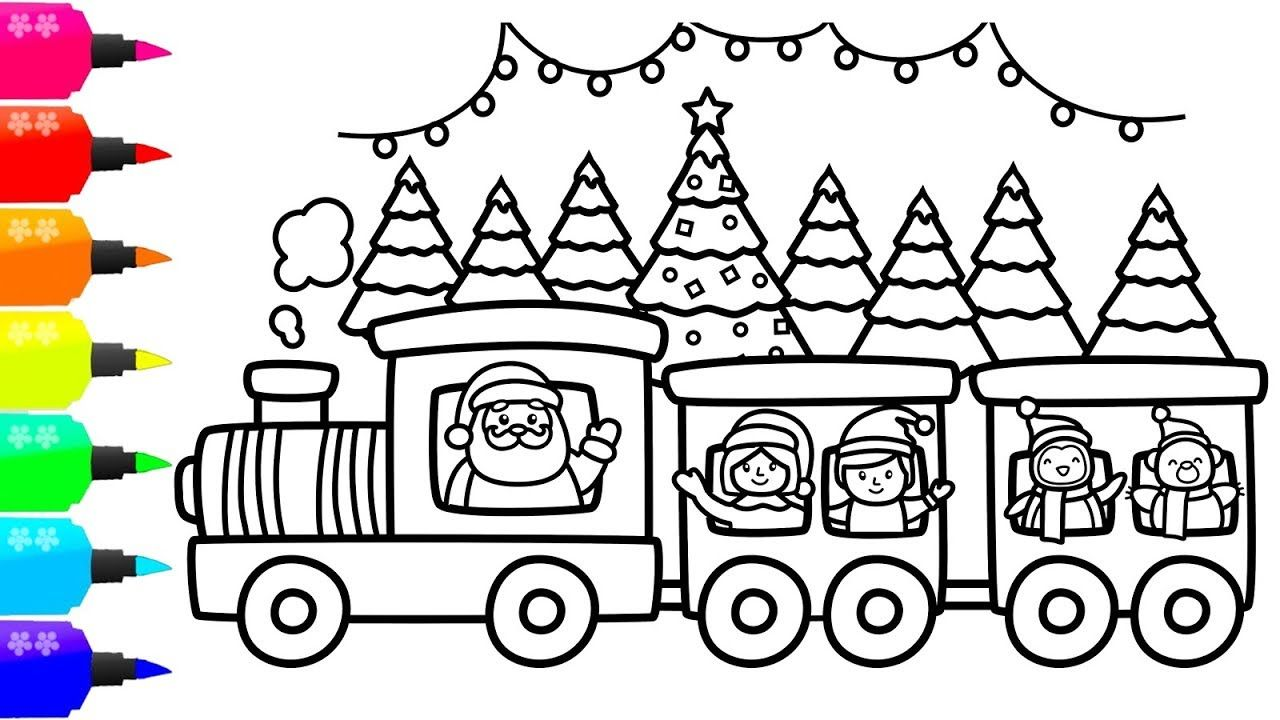 How to Draw Christmas Train for Kids Xmas Train Coloring
