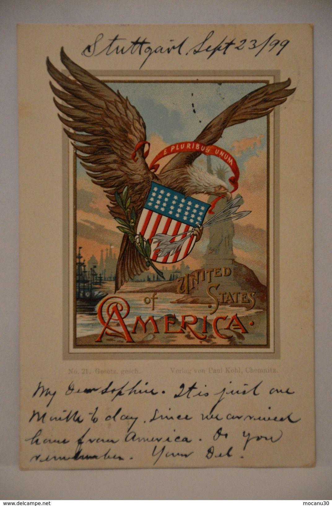 4b729d2b2b7 UNITED STATES OF AMERICA EAGLE dated 1899 - RARE Old Postcard By PAUL KOHL  CHEMNITZ