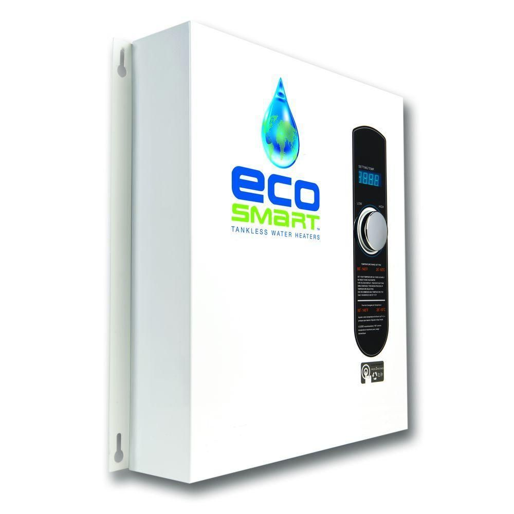 Ecosmart Eco 27 Tankless Electric Water Heater 27 Kw 240 V Eco 27 The Home Depot Tankless Water Heater Electric Water Heater On Demand Water Heater