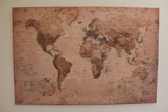 Diy mod podge canvas map diy mod podge canvases and walls world map vintage style art poster print poster print collections poster print gumiabroncs Gallery
