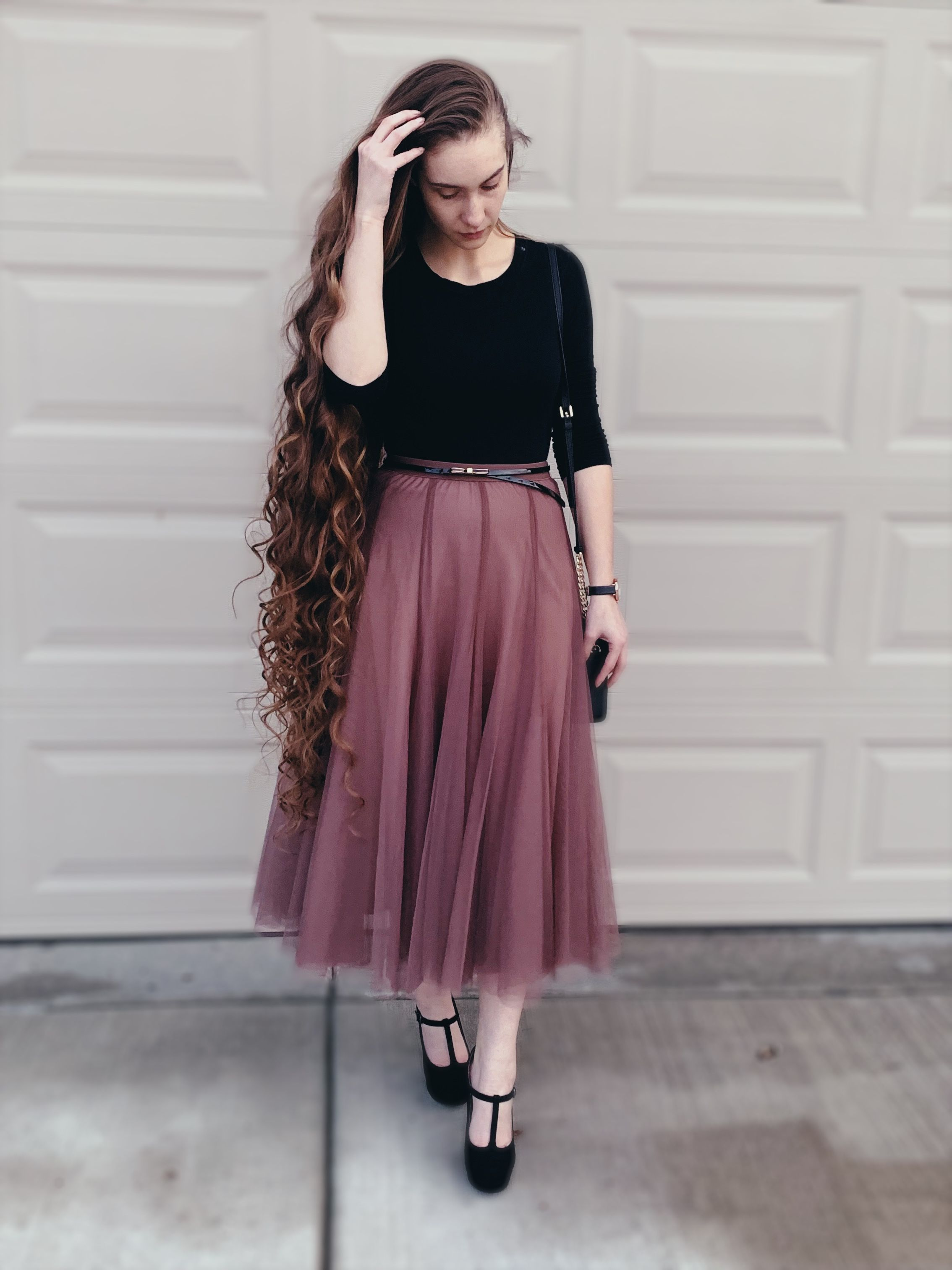 c25e720256230 A-line tulle skirt with thicker lining for cold weather.  longhair  modesty