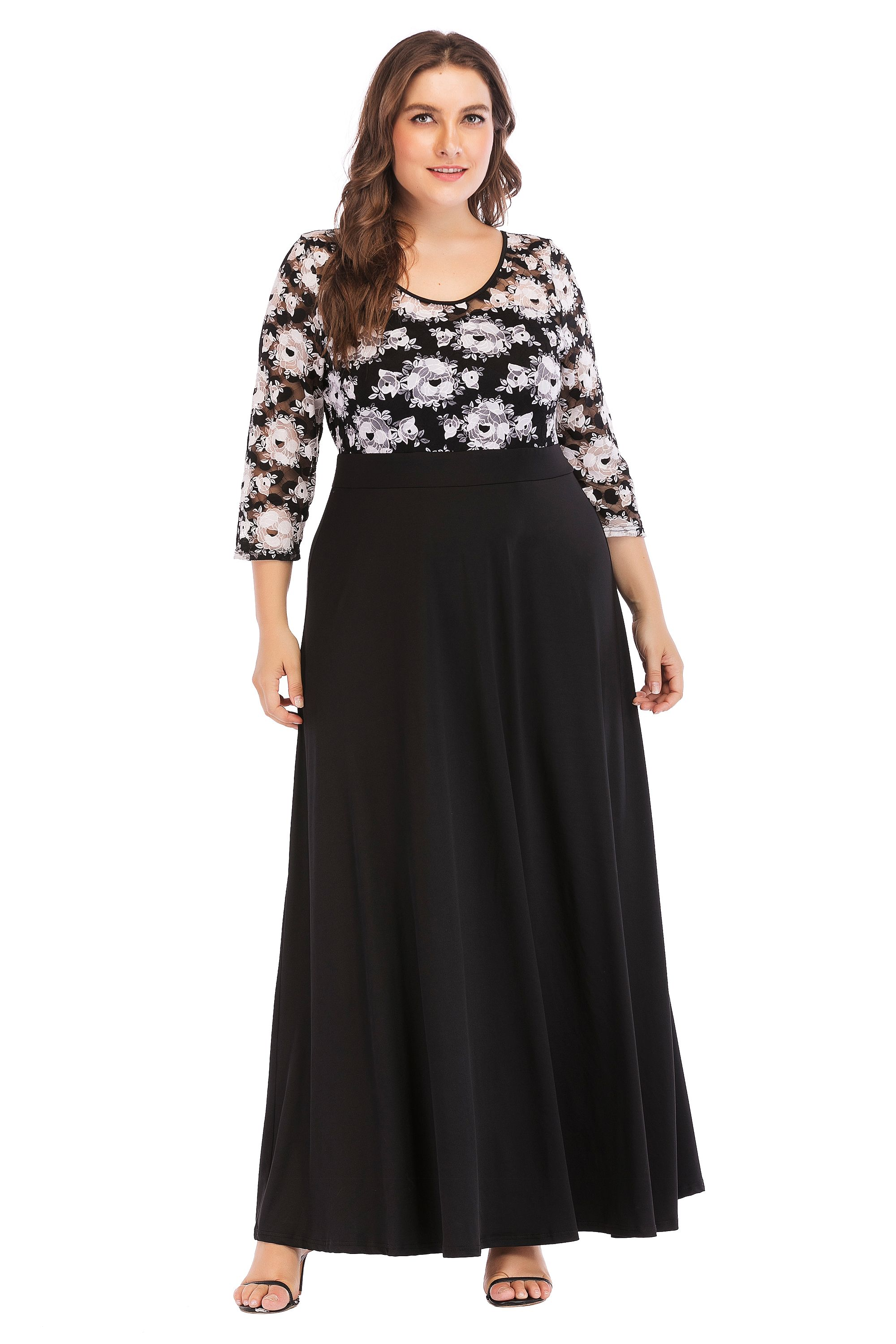 f36a4b3fe4 ESPRLIA Womens Plus Size Fit and Flare Vintage Party Maxi Dress ...