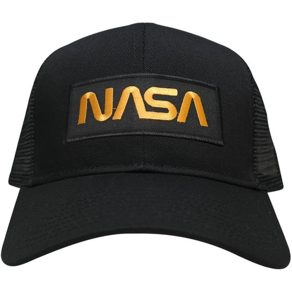 f10788642a4 NASA Worm Gold Text Embroidered Iron On Patch Snapback Trucker Mesh Cap  (30-287-PM302)