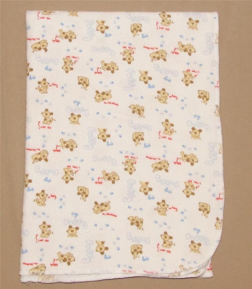 koala baby white tan puppy dog flannel receiving blanket red