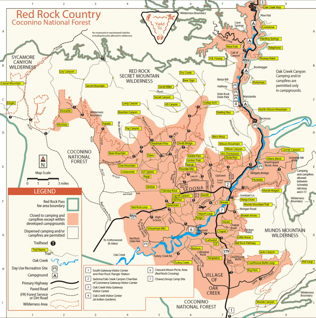 Red Rock Arizona Map Red Rock Country. Sedona AZ Coconino National Forest | * sedona