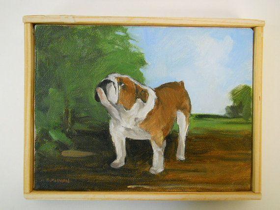 Original dog painting of a Bulldog with landscape by BushmanStudio