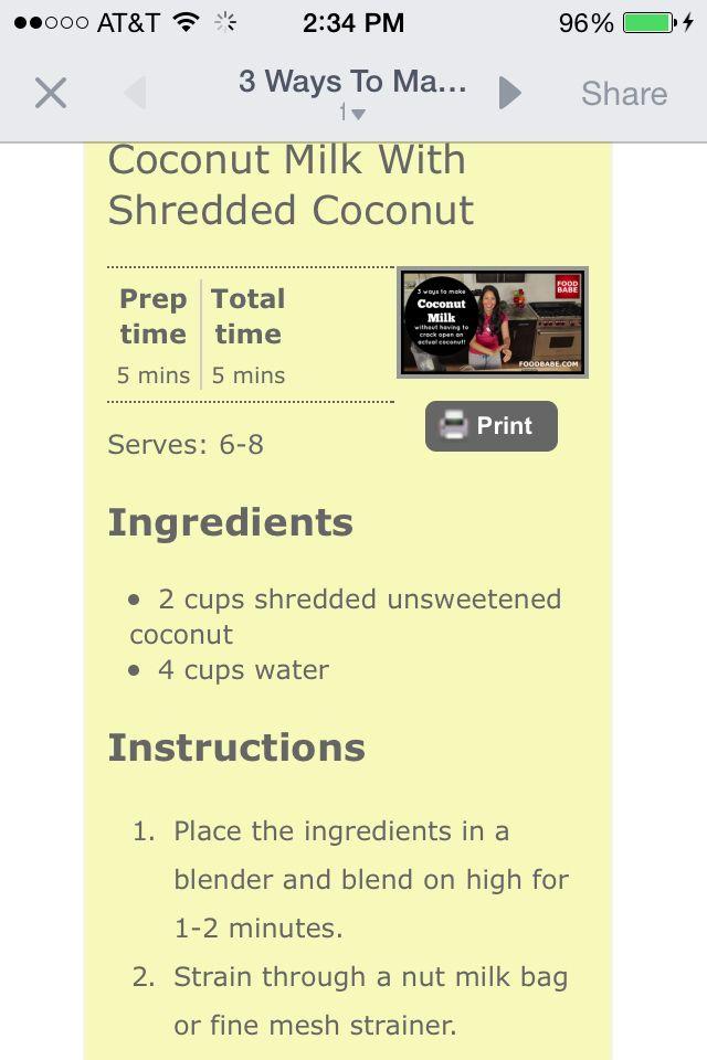 Coconut milk (food babe)