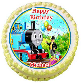 Thomas the Train edible cupcake toppers, 2 (there are three cupcake toppers on the eBay listing)