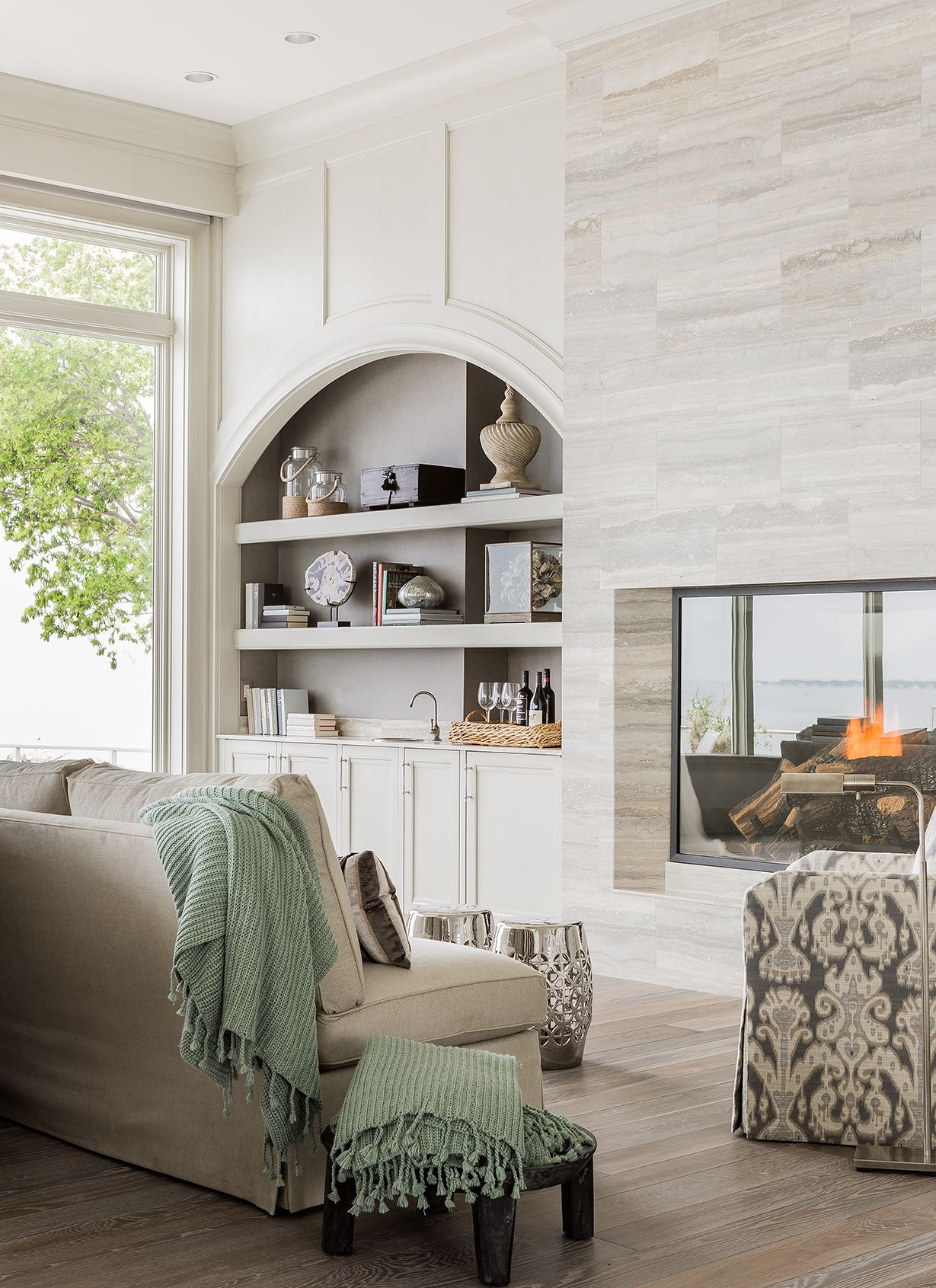 Great Room Bar Area Pass Through Fire Place Design Transitional Living Rooms Built In Shelves Living Room Fireplace Built Ins