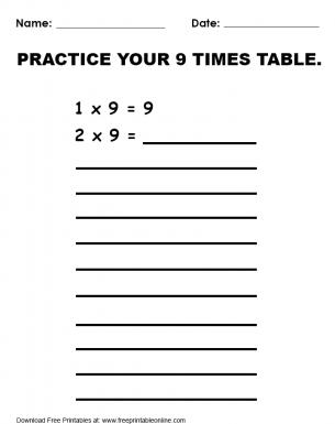 Practice 9 Times Table Worksheet