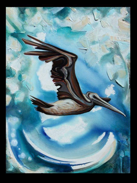 Pelecanus Occidentalis , Original Painting by Sarah Megan Jenkins