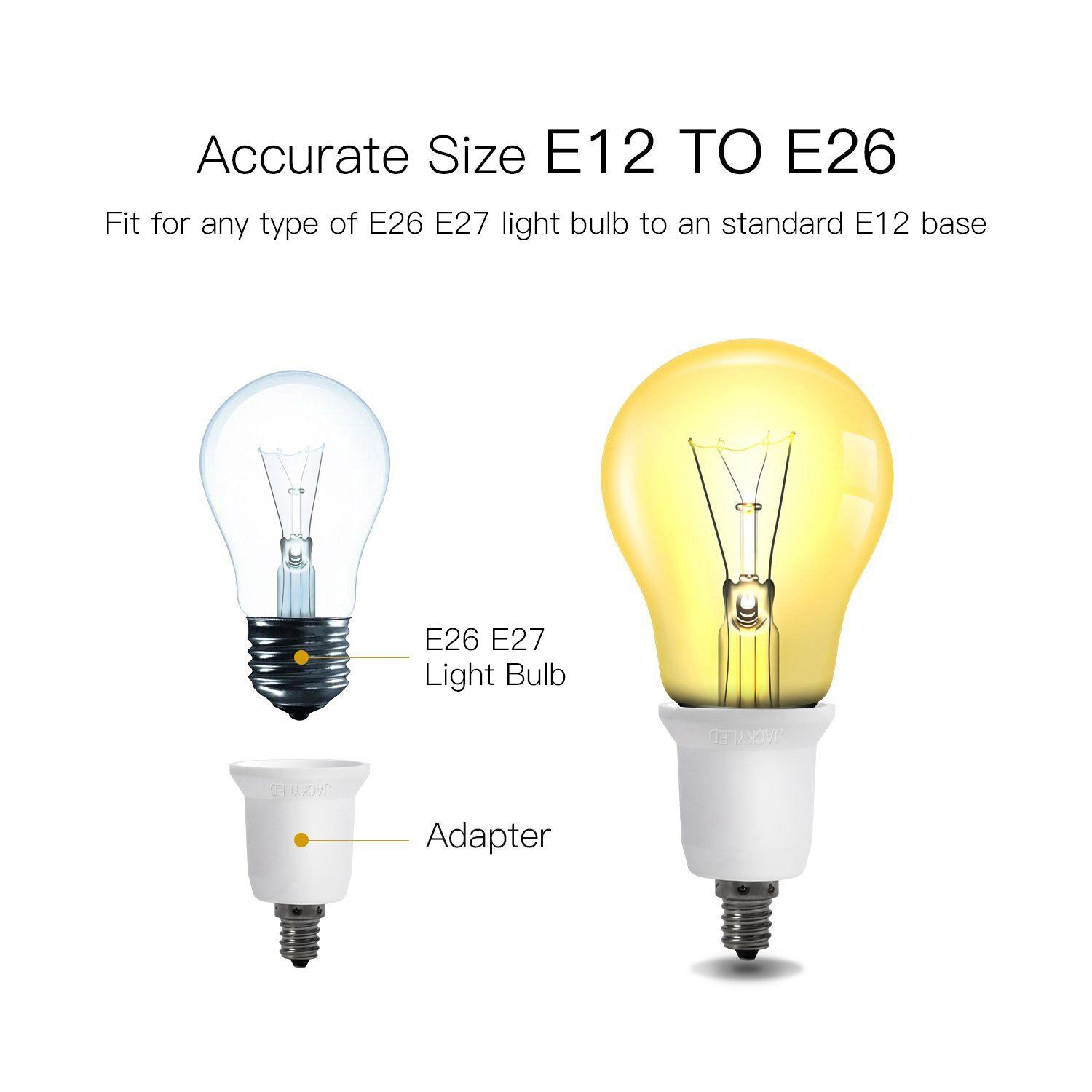 Jackyled E12 To E26 E27 Adapter 5pack Chandelier Light Socket E12 To Medium Socket E26 E27 Converter Bulb Base Ada Light Bulb Adapter E27 Light Bulb Light Bulb