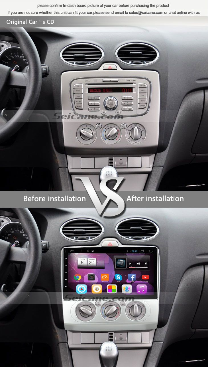 Seicane S085690 Quad-core Android 4.4 Radio GPS Audio System for 2004-2011  Ford Focus MK2 AUTO original car's CD