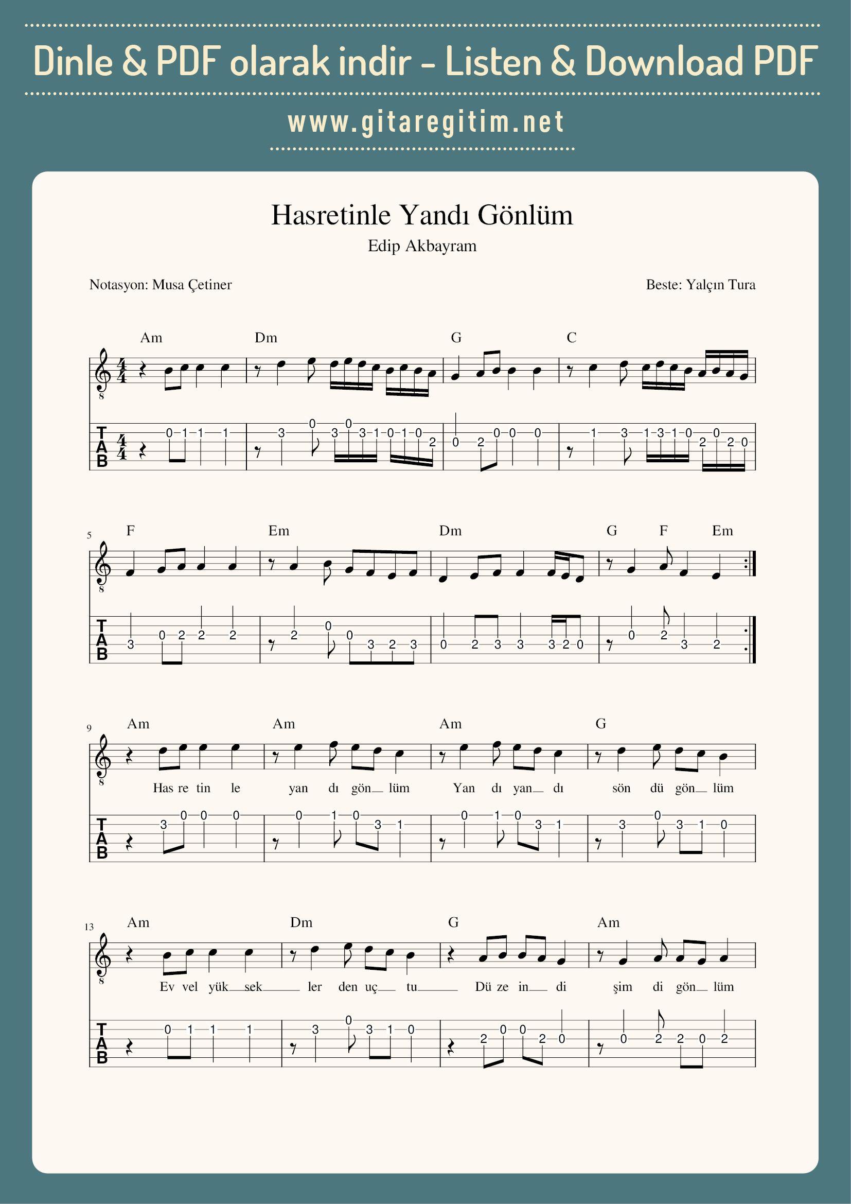 Hasretinle Yandi Gonlum Nota Tab Akor Gitaregitim Net Notalara Dokulmus Muzik Muzik Muzik Notalari