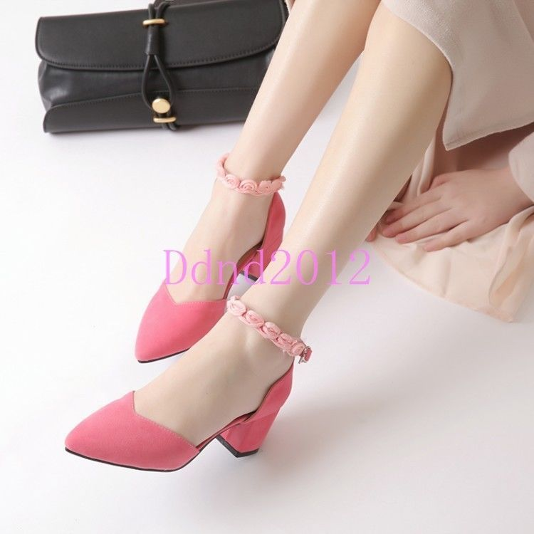 Women Block Heels Pointed Toe Ankle Strap Faux Suede Sandals Shoes Plus Size