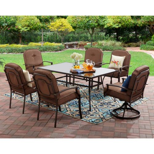 walmart deck chair covers leg for chairs mainstays wentworth 7 piece patio dining set seats 6 com outdoor