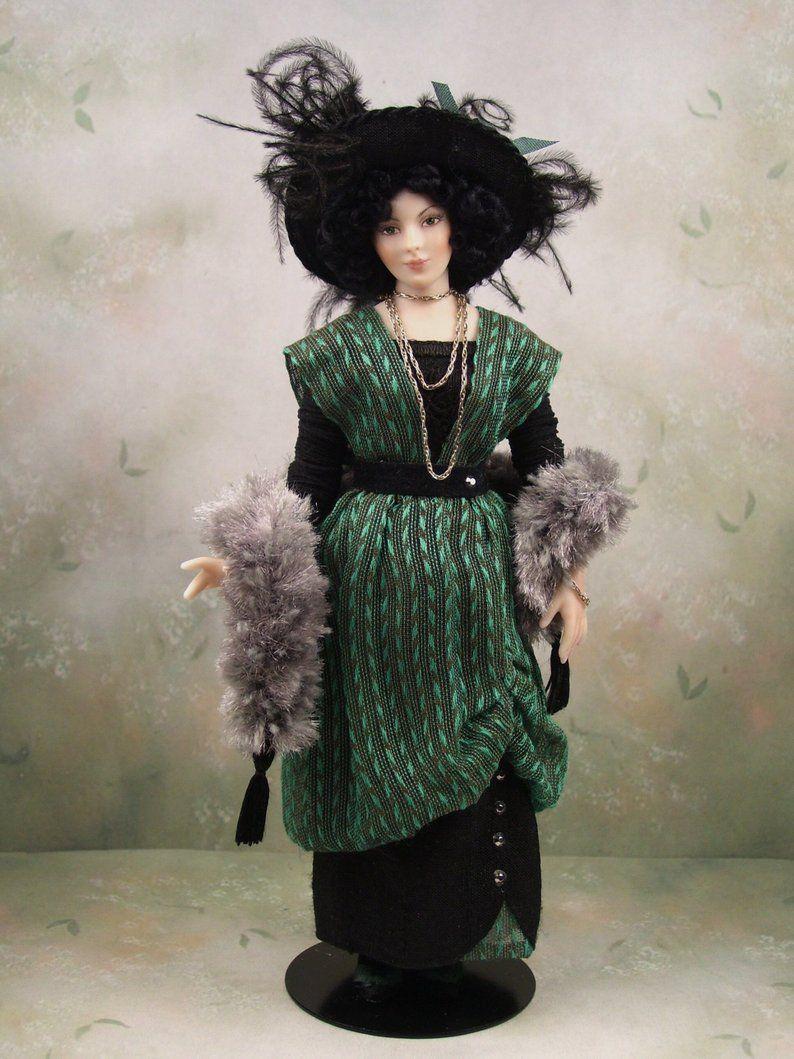 1 12th Scale Ooak Dollhouse Miniature Porcelain Edwardian Era Young Woman Doll Elspeth By Terri Davis Barbie Miniatures Dolls Doll Stands