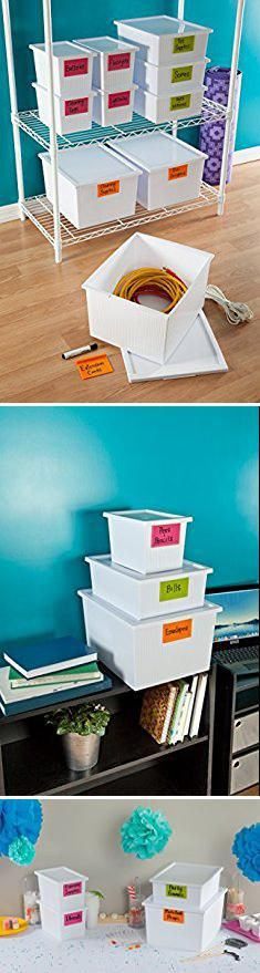 White Plastic Storage Box Mdesign Plastic Stackable Box Household Storage Container With Attached Lid Organizer For Entryway Mudroom Closet Kitchen Plastic Box Storage Plastic Storage Bins Plastic Storage