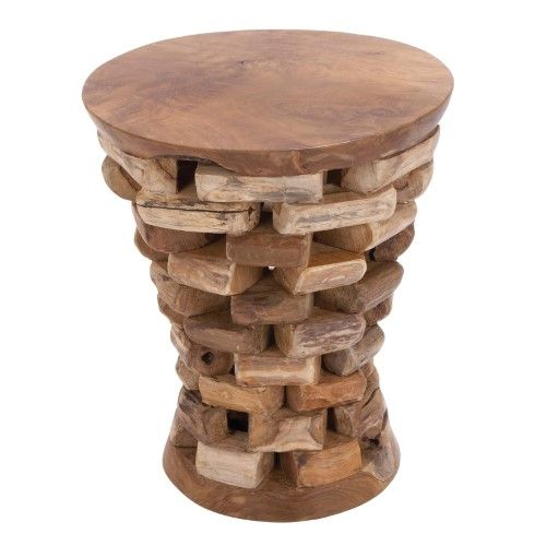 Decmode Organic Inspired Drum Shaped End Table Beige