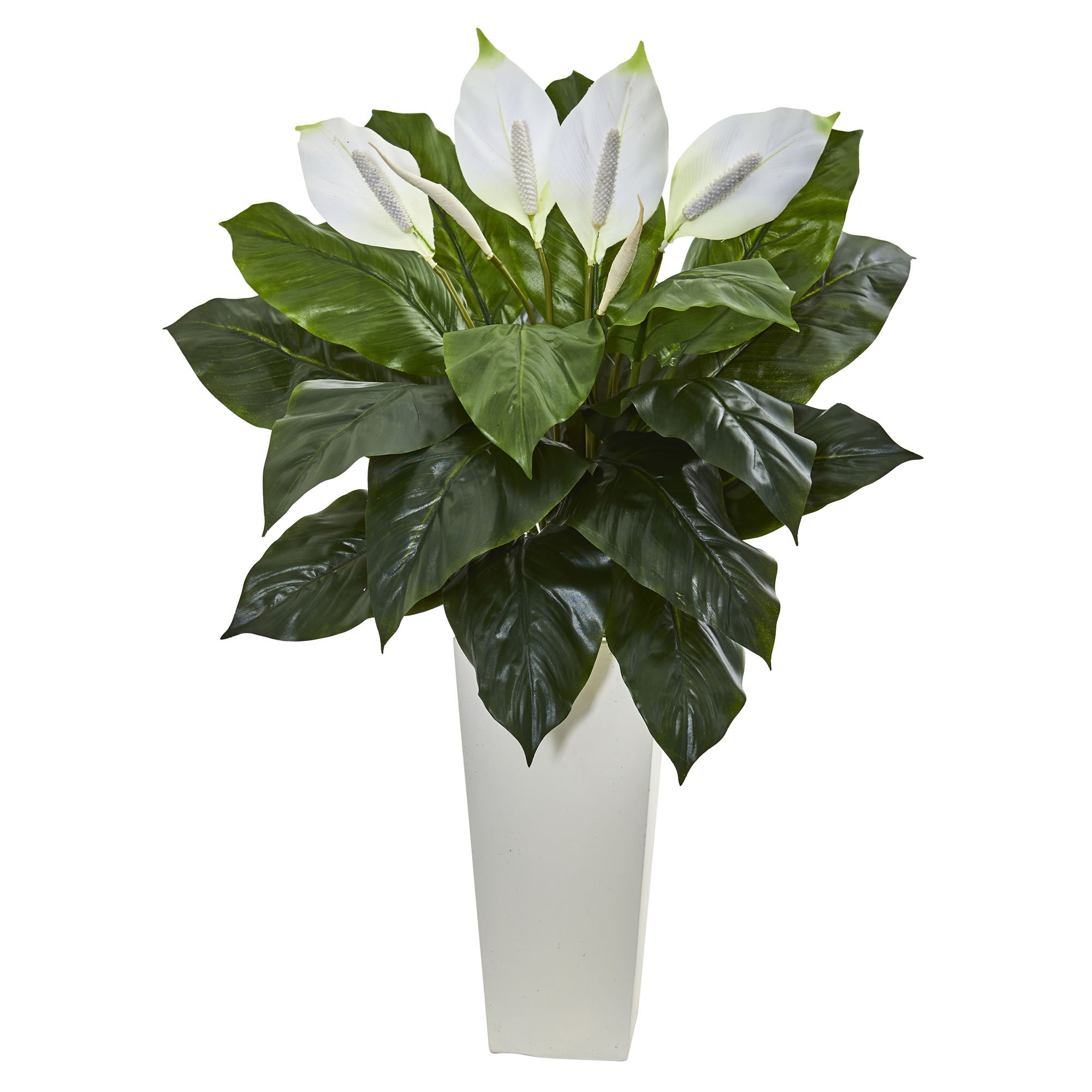 U spathifyllum artificial plant in white tower planter products