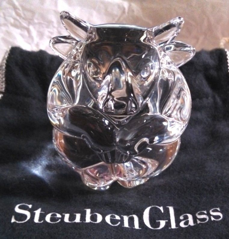 1dbe3079f5ea Limited Edition Steuben Glass Crystal BULL Hand Cooler