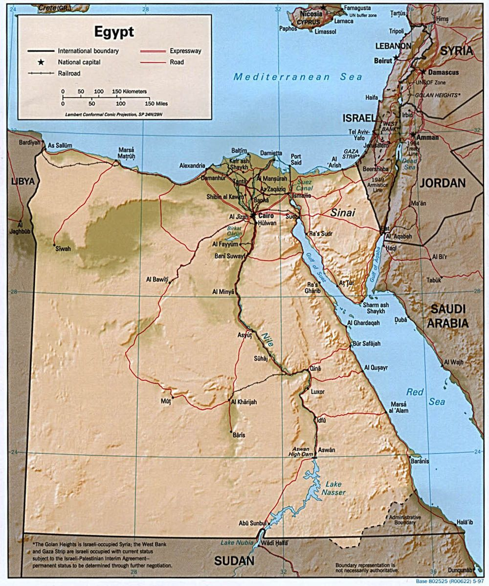 Physical Middle East Map%0A Relief map of Egypt