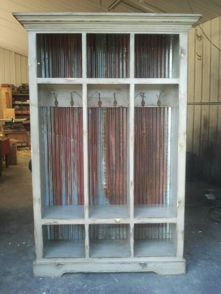 It 39 s all in the detail this locker is loaded with for Old barn tin ideas