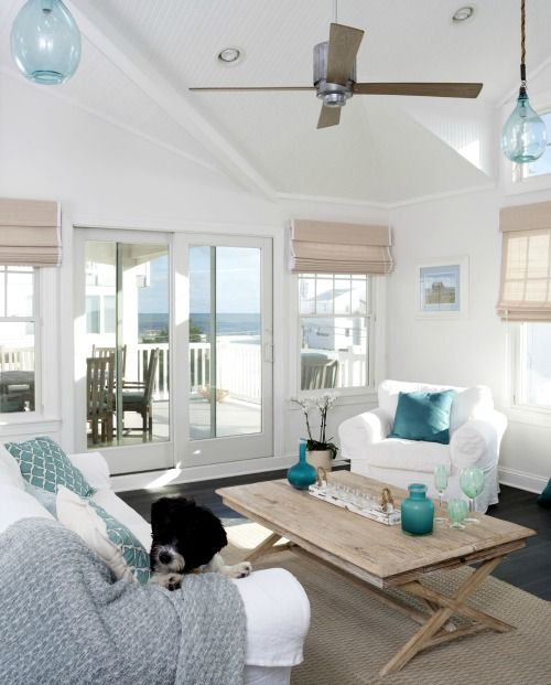Merveilleux Beachy Shades, White Slip Covers, Wood Coffee Table, White Walls With Blue  Accents