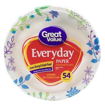 Great Value Everyday Premium Paper Plates 10 1/16 inch 54ct  sc 1 st  Pinterest & Gv 10 inch Paper Plt 54C White | Walmart