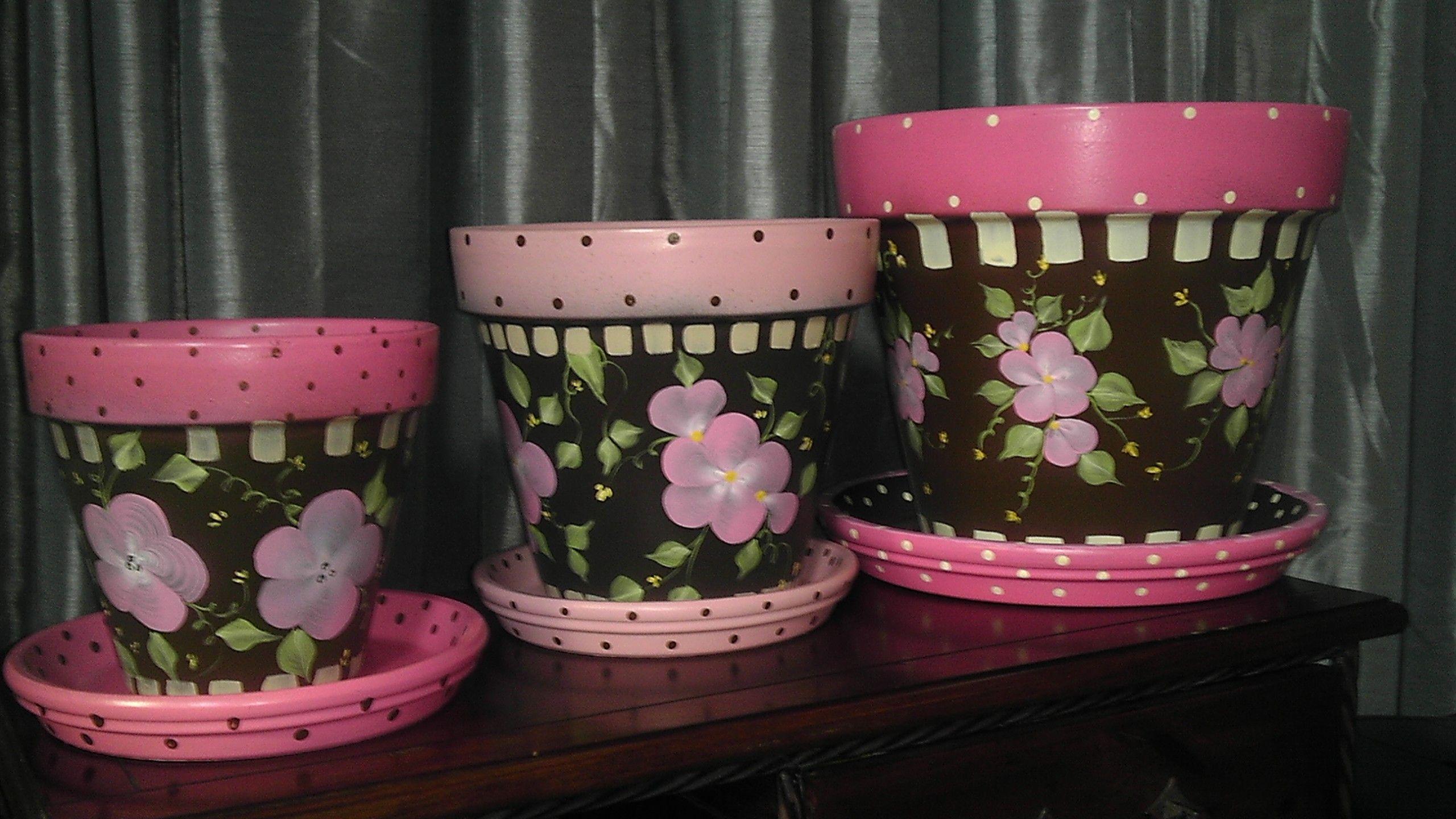 One Stroke Flower Pots