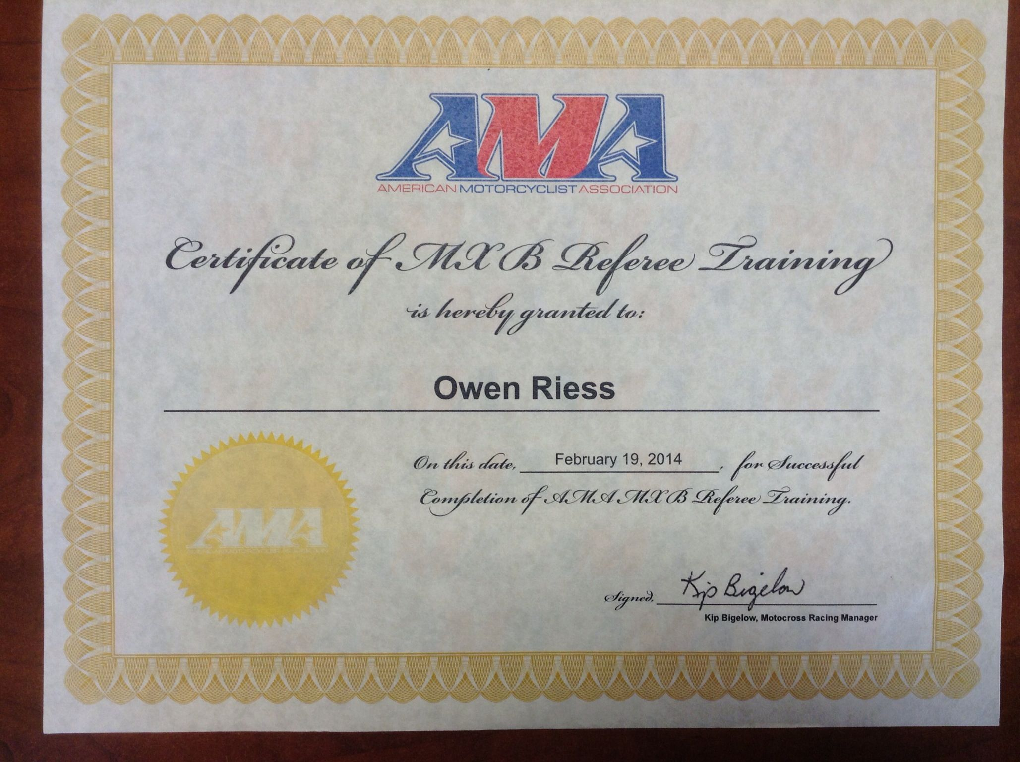Ama Certificate Of Motocross B Referee Training Owen Riess