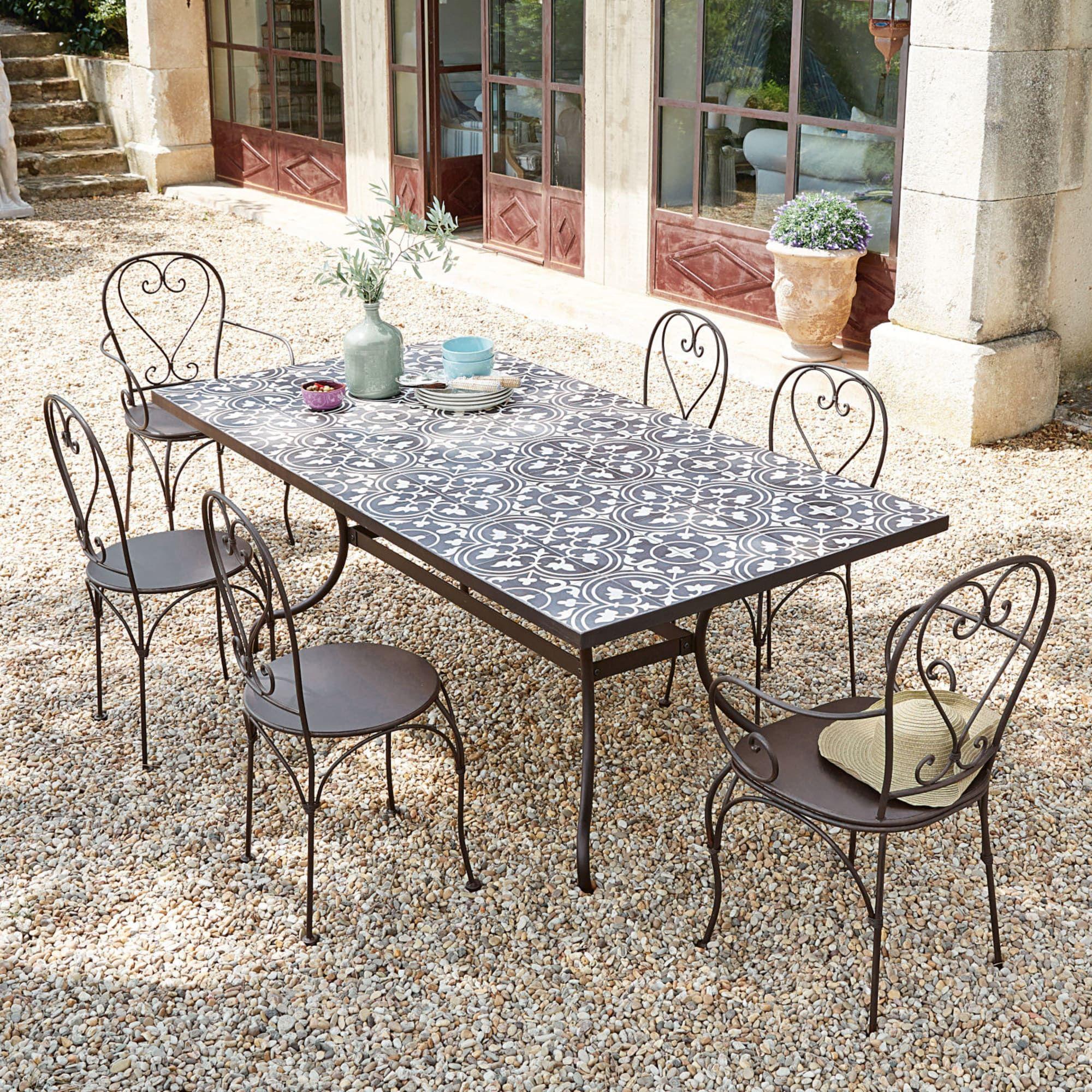 Salon De Jardin Carreau De Ciment table à manger en métal et carreaux de ciment 6/8 personnes