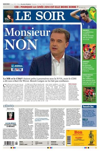Journal Le Soir du 25.06 – édition numérique et PDF