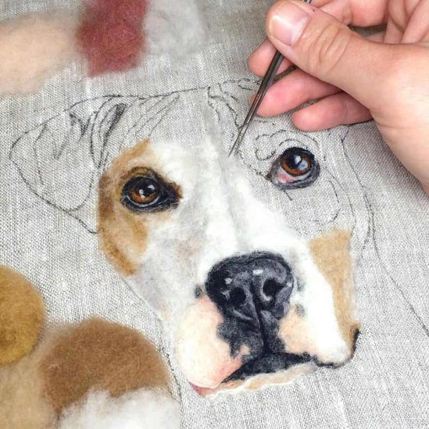 "Artist Uses Needle And Wool To ""Paint"" Realistic P"