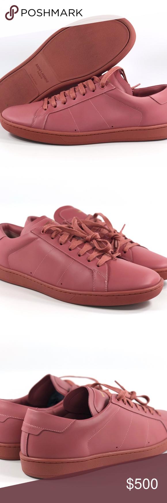 Yves Saint Laurent YSL SL//01 Leather Low Top Sneaker Alpha Mistic Rose Mens 42.5