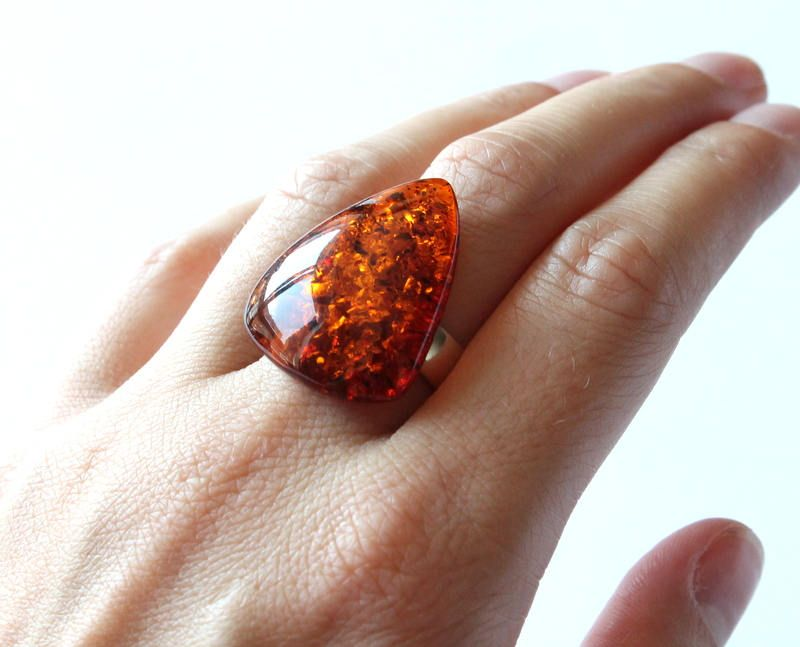 Baltic Amber Adjustable Ring Sterling Silver 925 Cognac Cherry Butterscotch