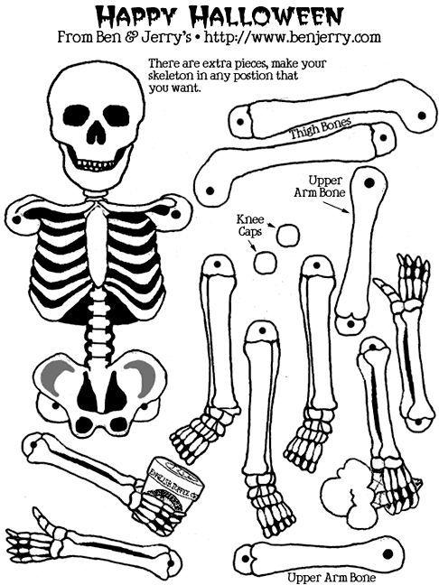 image regarding Halloween Printable Crafts named Pin through Ana Glenn upon halloween Skeleton craft, Halloween